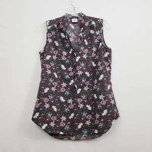 cabi Floral Sleeveless 1/2 Button Up Top Small